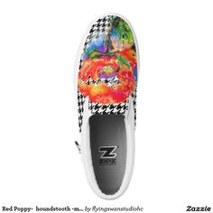 Red Poppy-  hounds-tooth -monogrammed Printed ShoesEach pair of custom High Top ZIPZ® shoes is designed so that any ZIPZ® top can be matched with a sole of the corresponding size, meaning you can change your style as often as you'd like to match any mood, occasion, or outfit. http://www.zazzle.com/flyingswanstudiohc*