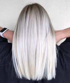 Mid-Length Straight Platinum Blonde Hair #straighthair