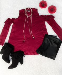 Wine Cold Shoulder Ruffle top