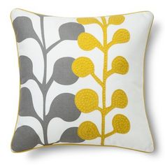 "Room Essentials® Embroidered Floral Toss Pillow - Yellow (18""x18"")"