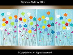 Large oil painting Abstract Impasto knife colourful by QiQiGallery