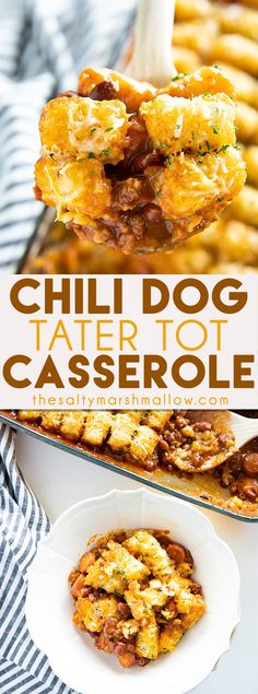casserole recipes Tater Tot Chili Dog Casserole is a cheesy, savory, and fun new twist on tater tot casserole and chili dogs! This casserole is easy to make with leftover or canned chili! Healthy Recipes, Beef Recipes, Gourmet Recipes, Cooking Recipes, Dinner Recipes, Kraft Recipes, Recipies, Chicken Recipes, Leftover Chili Recipes
