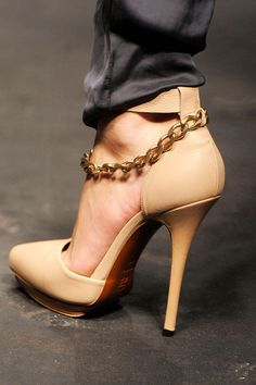 Lanvin Nude Chain Pumps Spring 2010 RTW #Shoes #Heels