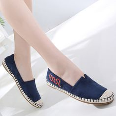 Snake Embroidered Espadrilles Slip On Flat Shoes