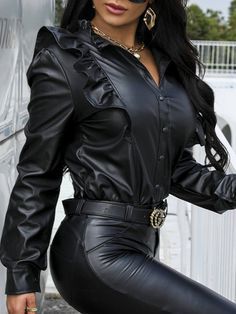 Sexy Outfits, Stylish Outfits, Chic Type, Womens Fashion Online, Black Blouse, Leather Fashion, Girl Fashion, Women's Clothing, Button