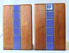 Gordon Martz for Marshall-Studios, walnut & ceramic bookends. Beautiful. $100 or best offer, via eBay.