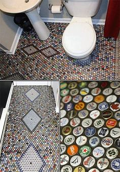 Lets just hope the bathroom is not the man cave and there is another room in the cave. beer cap bathroom floor