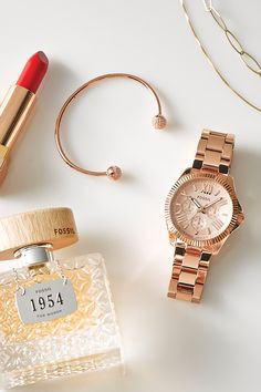 Some collect stamps, others accessories. #Fossil 1954 fragrance and Cecile watch in Rose Gold.