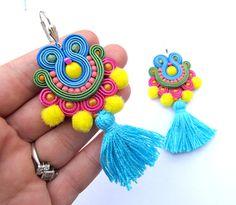Soutache Earrings, Tassel Earrings, Drop Earrings, Soutache Tutorial, Orange Earrings, Color Splash, Jewelery, Dangles, Jewelry Accessories