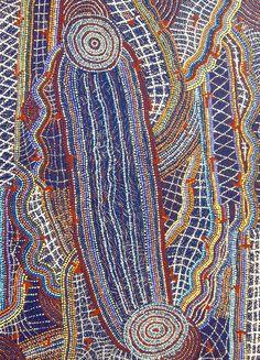 Ormay Nangala Gallagher / Yankirri Jukurrpa (Emu Dreaming) Acrylic on Linen. 2009 107 x 76 cm