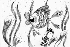 Silver Expression: Something a bit fishy...cute fish zentangle doodle