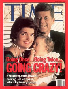 John Fitzgerald Kennedy, Jr. biting his mother, Jacqueline Lee Bouvier's pearls on the cover of Time Magazine with his father, John Fitzgerald Kennedy, Sr.