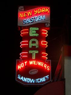 Our original Olneyville New York System neon sign from 1946 by Olneyvillain, via Flickr