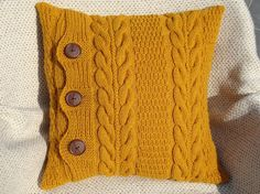 Mustard knit pillow Christmas gift throw couch pillows sofa pillows knit cushion knitted pillow cases Thanksgiving gift knit pillow covers