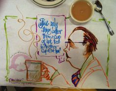 """Notice the actual """"food stain"""" in the lower left of the drawing. In this case I used my tea."""