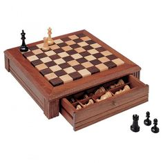 Build your own wood chessboard with this woodworking plan. This set has two built-in drawers to hide playing pieces when not in use.