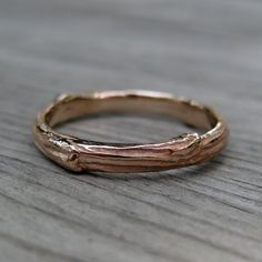 Twig Wedding Band Rose Gold 3mm by kristincoffin on Etsy, $650.00