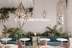 flower shop and cafe in jeddah on Behance Japanese Interior Design, Cafe Interior Design, Cafe Design, Resturant Interior, Flower Shop Interiors, Flower Cafe, Flower Shop Design, Café Bar, Coffee Shop Design
