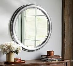 Audrey Beaded Mirror   Pottery Barn Round Wall Mirror, Floor Mirror, Round Mirrors, Wall Mirrors, Mirrors Silver, Bathroom Mirrors, Downstairs Bathroom, Mirror Mirror, Master Bathroom