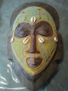 Antique tribe African mask beaded shelled from dan tribe