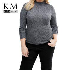 Kissmilk 2017 Plus Size Women Solid Sweater Long Sleeve Regular Autumn Pullovers Solid Tops Big Size 3XL 4XL 5XL 6XL