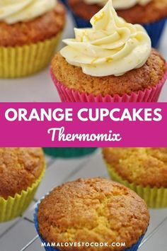 These Thermomix whole orange cupcakes are light fluffy and so delicious topped with orange cream cheese frosting. And of couse it's a Thermomix recipe so they are and so super easy to make! The orange makes these cupcakes so moist and the orange zest in the icing takes it to another level! You're going to love them. #thermomixrecipes #recipesforbaking Perfect Cupcake Recipe, Cupcake Recipes, Baking Recipes, Cupcake Cakes, Dessert Recipes, Dessert From Scratch, Cake Recipes From Scratch, Citrus Recipes, Sweet Recipes