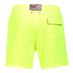 """FLUORESCENT YELLOW OWNER P SWIM SHORTS WITH SKULL Fluorescent yellow Long Swim Shorts featuring a skull and """"PIRATES DE SAINT BARTH"""" embroidery at lateral side. Two front pockets and back Velcro pocket. Internal net. Elastic waistband with adjustable drawstring. COMPOSITION: 100% POLYESTER. Model wears size M, he is 189 cm tall and weighs 86 Kg."""