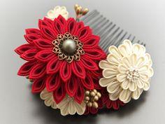 Japanese tsumami kanzashi Cloth Flowers, Diy Flowers, Fabric Flowers, Ribbon Crafts, Flower Crafts, Fabric Crafts, Japanese Fabric, Japanese Hair, Kanzashi Flowers