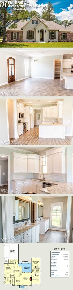 Architectural Designs 3-Bed Traditional House Plan 11781HZ has an open living area with a peninsula bar in the kitchen. The home has 3 beds and 2 baths with over 1,700 square feet heated living space. Ready when you are. Where do YOU want to build?