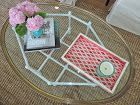 This HomeGoods tray is the perfect pop of color and breaks up this glass table. Sponsored by HomeGoods Happy by Design.