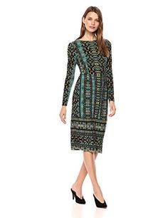 4d6a4c728c Maggy London Women's Global Tile Jersey Sheath with Sleeves