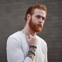 Gwilym Pugh - full red beard mustache beards bearded man men mens' style tattoos tattooed redhead ginger #beardsforever
