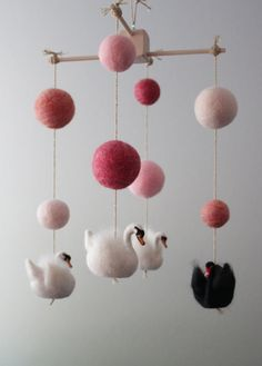 Needle Felted Swan Nursery Mobile with Pink Ombre by MerleyBird