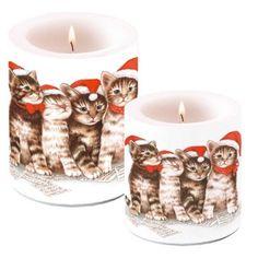 Dos velas para la mesa de navidad con gatitos cantando.  #velasnavidad #velas #navidad #velasgatos