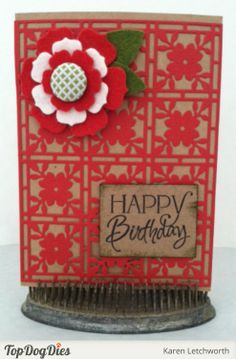 Birthdays only happen once a year so make it count. Design Team Member Karen Letchworth created this beautiful birthday card using Top Dog Dies Flower Mosaic A2 Mat Die.