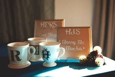 """Coffee Signature Drinks for Bridal Shower -- """"Marry Me Mocha""""  """"Hazelnut for Honeymooners"""" -- Any ideas?  How about the """"Love Buzz""""?  Or the """"Perfect Blend""""? A """"Whole Latte Love""""?  ahahaha"""