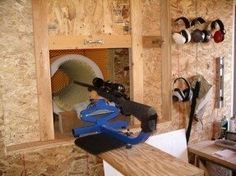A shooting station to go with the ultimate reloading room. I've read this guy is a mathematician in MT with a yard range. Concrete sewer or culvert piping works to simplify construction. Shooting House, Shooting Bench, Shooting Range, Indoor Shooting, Reloading Room, Outdoor Range, Gun Rooms, Survival, Ammo Cans
