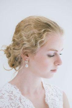 Cubic Zirconia Earrings, Bridal Earrings, Wedding Earrings, Drop Wedding Earrings, Rhinestone Ear... Wedding Earrings Drop, Rose Gold Earrings, Rhinestone Earrings, Bridal Earrings, Etsy Earrings, Bridal Jewelry, Drop Earrings, Down Hairstyles, Wedding Hairstyles