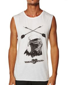 SURFSTITCH - MENS - TEES - MUSCLE TEES - THRILLS ARROW MUSCLE TEE - NATURAL