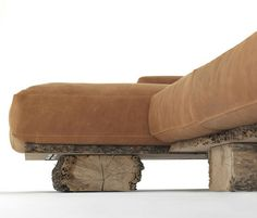 WOODEN RUSTIC SOFA + LEATHER