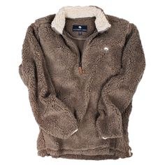 Quarter Zip Sherpa Pullover in Walnut Brown by The Southern Shirt Co.