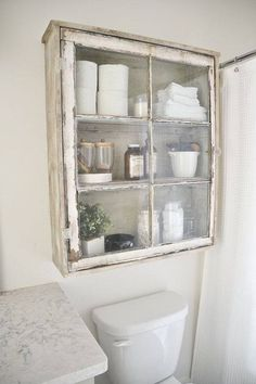 Upcycled Over-Toilet Bathroom Storage Cabinet using an old window. Rustic Farmho… Upcycled Over-Toilet Bathroom Storage Cabinet using an old window. Old Window Projects, Home Projects, Old Window Ideas, Ideas With Old Windows, Repurposed Window Ideas, Recycled Door, Old Window Frames, Recycled Windows, Repurposed Shutters