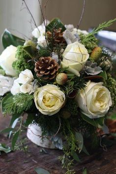 New wedding flowers winter centerpieces pine cones ideas Winter Centerpieces, Wedding Table Centerpieces, Floral Centerpieces, Pinecone Centerpiece, Centrepieces, Centerpiece Ideas, Winter Flower Arrangements, Christmas Arrangements, Floral Arrangements
