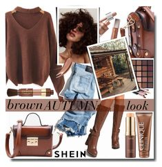 """brown AUTUMN look /SHEIN"" by fashiondiary5 ❤ liked on Polyvore featuring WithChic, R13, Clinique, Lancôme and shein"