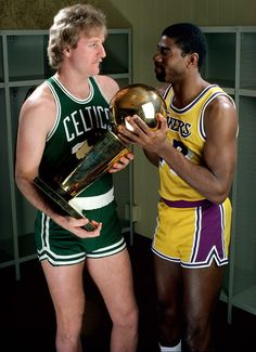 Bird and Magic fight over the 1986 NBA Championship Trophy