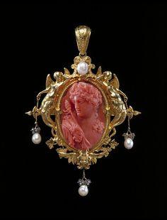 ⊙ Cameo Cupidity ⊙  1854 Bacchus coral cameo pendant