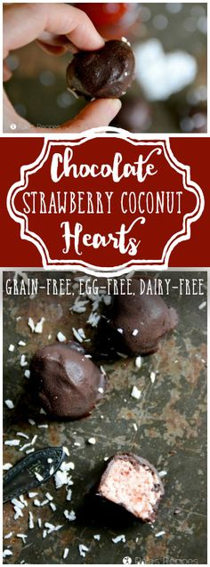 With only a few real-food ingredients, these gluten, egg, dairy, and refined sugar-free Chocolate Strawberry Coconut Hearts are one candy you won't mind indulging on. RaiasRecipes.com