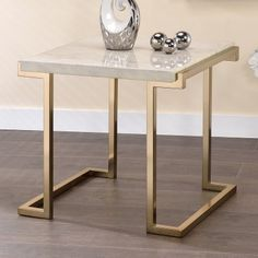 ACME Boice II End Table | Hayneedle Powell Furniture, Acme Furniture, Steel Furniture, Home Decor Furniture, Home Furnishings, Furniture Design, Mirrored Accent Table, Contemporary End Tables, Coffee Table Design