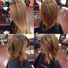 Long a-line bob with a beachy curl finish. Instagram: hairbymarissamae