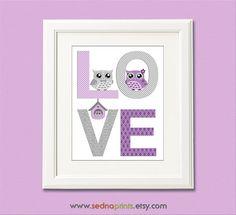 Purple and grey love nursery Art Print - 8x10 - Children wall art, Baby girl Room Decor, nursery art,  owl family  -  UNFRAMED